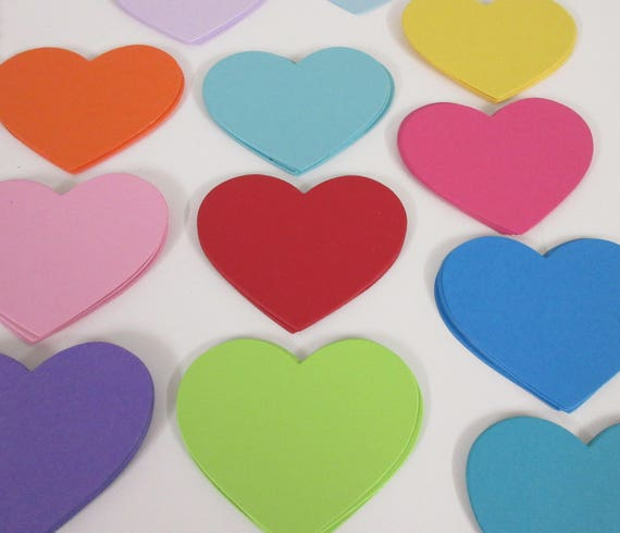 "30 Heart Die Cuts- Card stock heart cut outs, heart place cards, wedding tags, cupcake toppers-PICK YOUR COLORS 3 1/4"" (Set of 30 Hearts)"