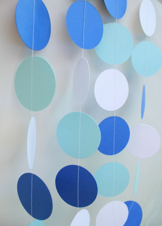 Paper Garland Baby Boy Shower Decoration Ocean Theme Blue And White First Birthday Decorations