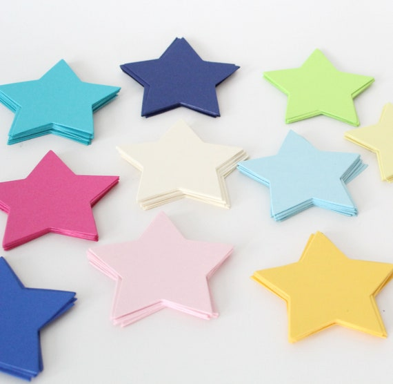 Paper Star Cut Outs-favor tag, school supply, party decor, die cut, paper star, scrapbooking- PICK YOUR COLORS- Set of 30 Stars