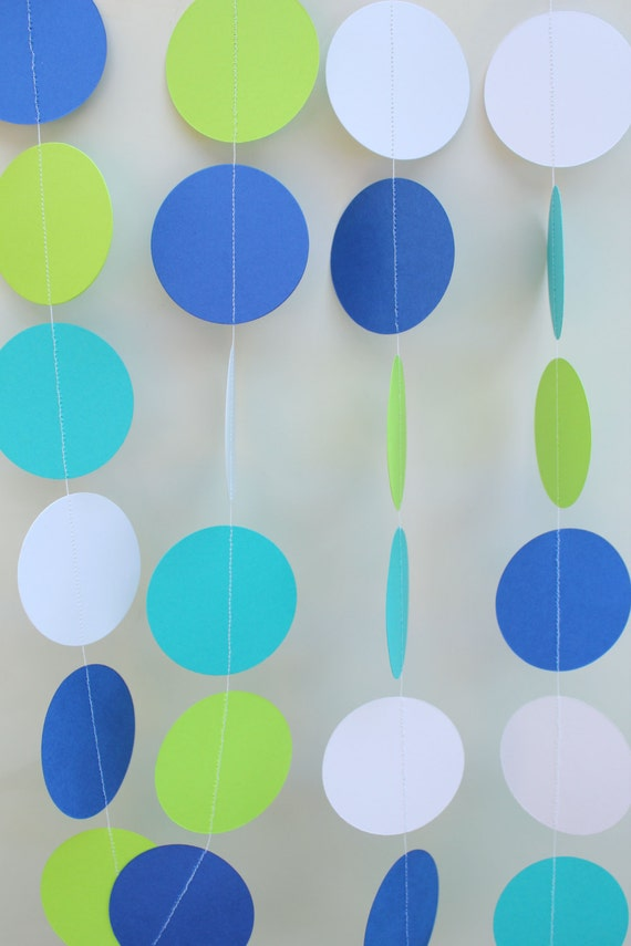 Garland - Baby Shower Decor, Ocean Theme, Boy Baby Shower, Circle Dot Garland, Shower Decoration, Gender Neutral Decor, Birthday Party Decor