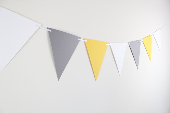 Pennant Banner- baby shower decoration, gender neutral, birthday decoration, first birthday, high chair banner, yellow and gray  6 FEET LONG