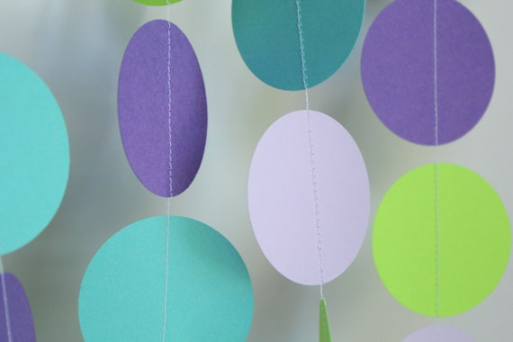 Paper Garland - birthday parties, baby showers, girl birthday, mermaid theme, purple and lime- 10 FEET LONG
