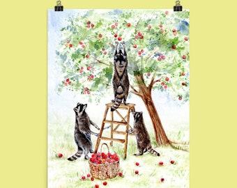 Apple Harvest - Cute Raccoons Picking Apples - Art Print of Original Watercolor painting - garden farm nursery cottage wall decor