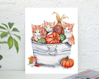 Harvest Kittens  - 10x11.5 Original Watercolor Painting Art orange tabby cats in basket with pumpkins red kittens thanksgiving fall decor