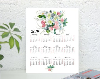 2019 One Page Floral Calendar Printable Calendar One Page Etsy