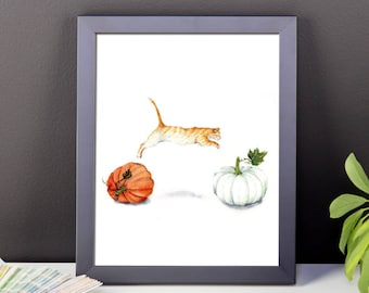 Fall Acrobatics - Art Print of Watercolor Painting red tabby jumping orange cat white pumpkin thanksgiving autumn pumpkin harvest