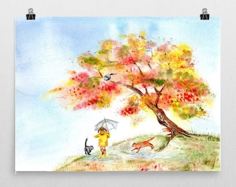 Fall Colors Sakura with Girl Playing with Cats - 8''x10'' Original Watercolor Painting autumn happy baby girl nursery children cherry
