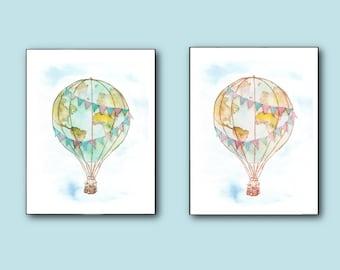 Vintage Hot-Air Balloon Prints Set of 2 - travel global explore earth kids travelers