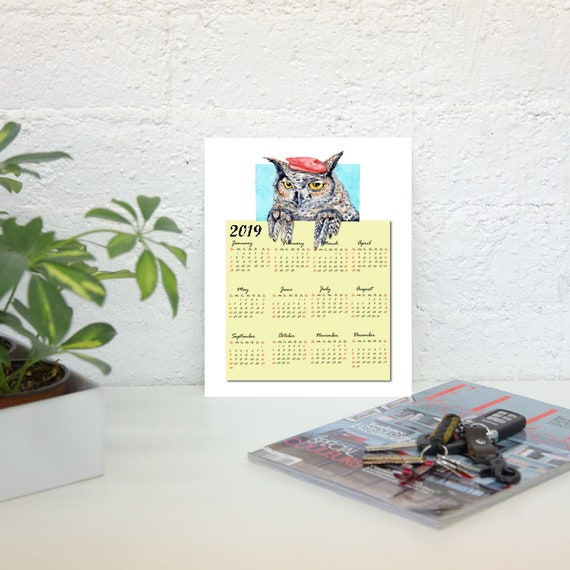 2019 one page owl calendar printable calendar one page etsy