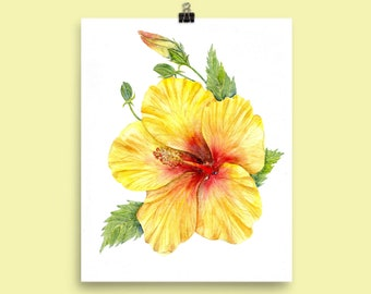 Yellow Hibiscus Flower - Botanical Art Print of Watercolor Painting - cottage décor tropical botanical art plants nature