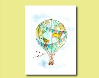 World Hot-Air Balloon - Original Watercolor Painting - 9''x12'' map explore globe travel international adventure blimp kids nursery planet