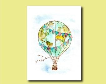 World Hot-Air Balloon - Bear Art Print of Watercolor Painting map explore globe travel international adventure blimp kids nursery planet
