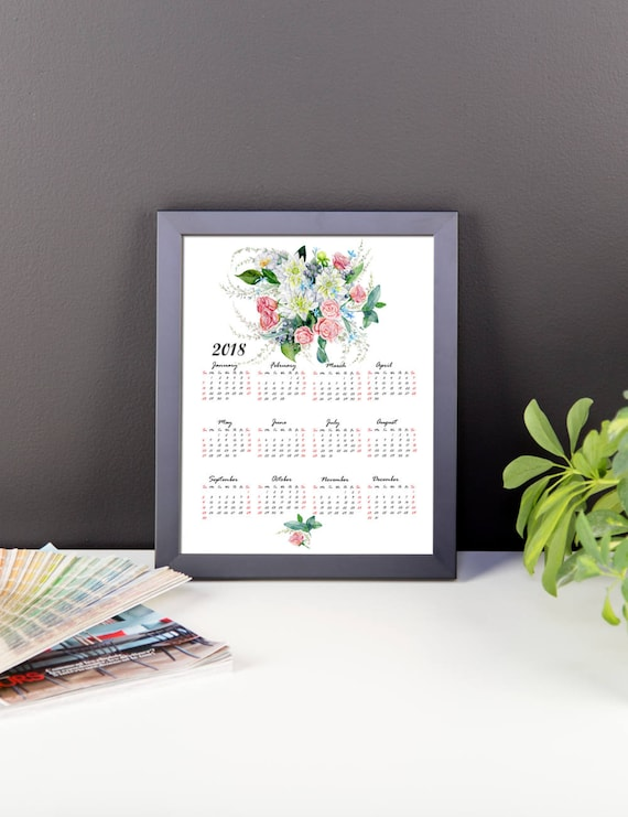 2018 one page floral calendar printable calendar one page etsy