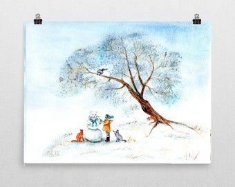 Winter Scene Sakura with Girl Playing with Cats - Fine Art Print of Watercolor Painting winter holidays happy baby girl nursery cherry