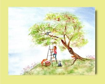 Summer Scene Sakura with Girl Playing with Cats - Fine Art Print of Watercolor Painting summer happy baby girl nursery children cherries