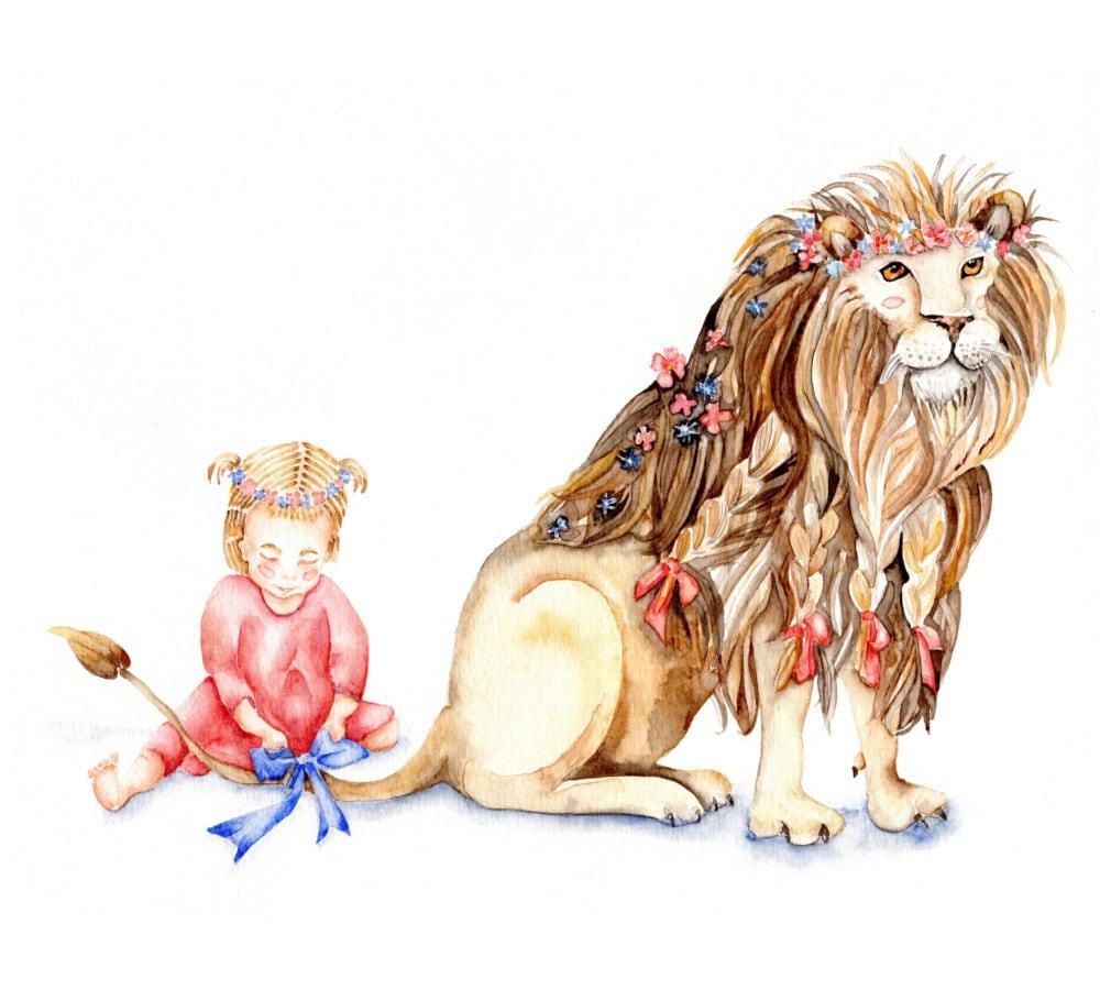 0e184a58e Girl with Her Lion Art Print Watercolor modern safari | Etsy