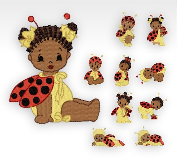 African Baby Machine Embroidery Designs Baby Bugs Set Of Etsy