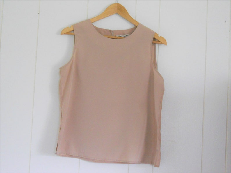 575bfeb4ee9 Womens Beige Shell Top Simple Blouse Sleeveless Minimal Size