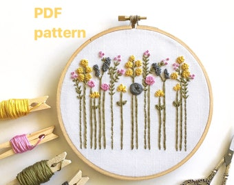Hand Embroidery Pattern, Floral Design, DIY Hoop Art, Wildflowers PDF, Embroidered Flowers, Stitching Guide, Printable, Instant Download