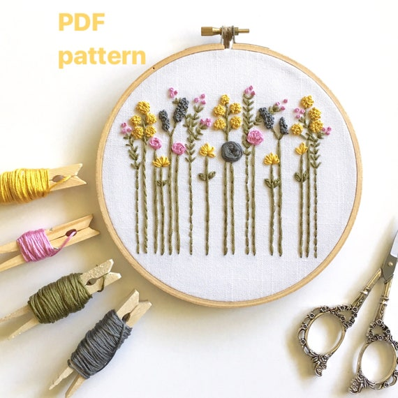 The Original Wildflowers Beginner Embroidery Hand Embroidery Etsy