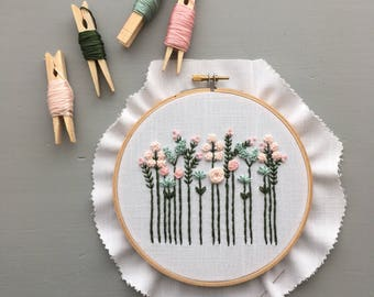 Modern Embroidery Kit - Pastel Wildflowers, Hoop Art, Preprinted Fabric, DIY Gifts,  Embroidered Florals, Stitching,  Handmade baby gift