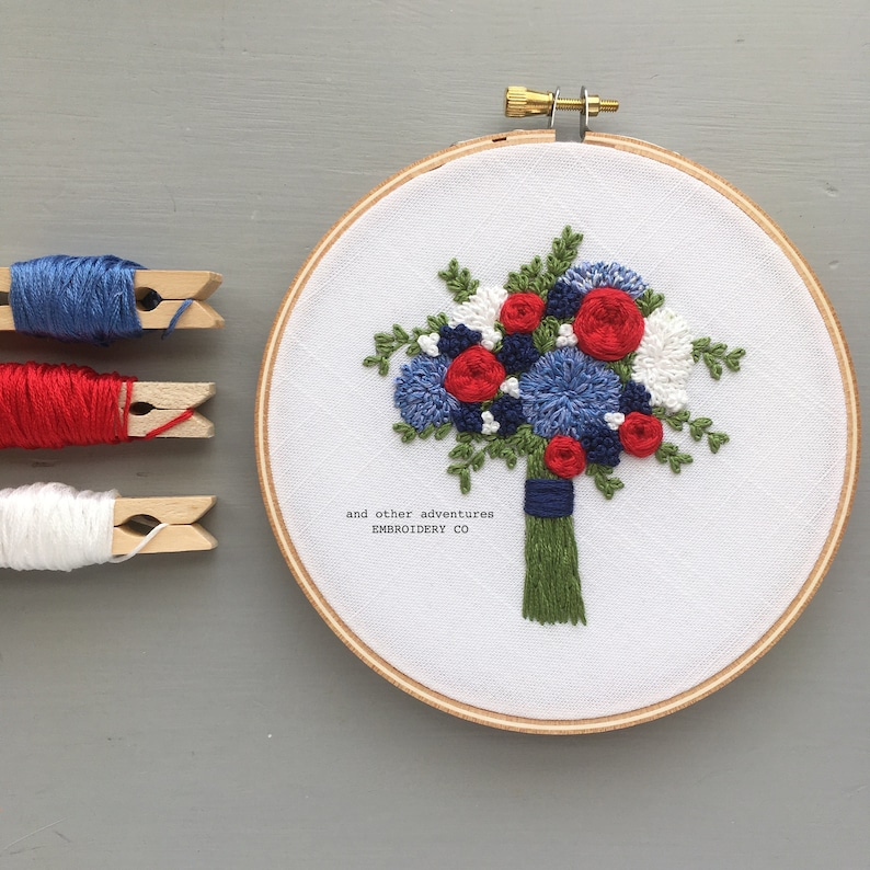 USA Independence Day Art America Red White and Blue Bouquet Hand Embroidery Pattern by And Other Adventures 4th of July