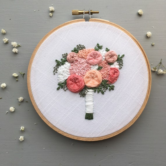 The Brooke Bouquet Hand Embroidery Pattern Diy Embroidered Etsy