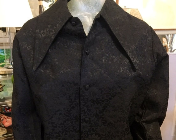 Vintage 1960s Men's Extra Long Collar Black Brocade Shirt by Something Else Size Medium