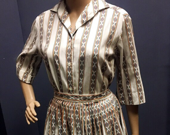 Vintage Early 1960s Two Piece Western Style Blouse amd Skirt by Candy Jones Size Small
