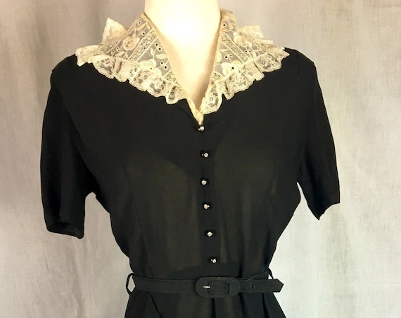 Vintage Early 1950s All Nylon Black Secretary Dress w White Embroidered Lace Collar and Pockets Med