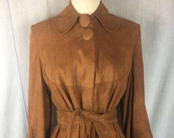 Vintage Late 1940s Cinnamon Brown Suede Coat by Sun Suedes of Los Angeles  Medium