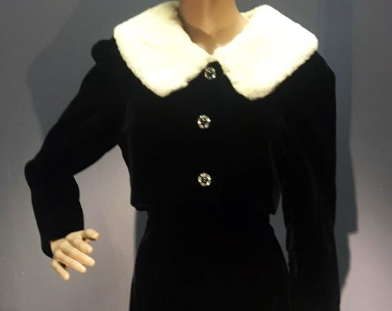 Vintage 1950s 1960s Lilli Ann Black Two Piece Dress and Fur Trimmed Bolero Jacket Small Medium