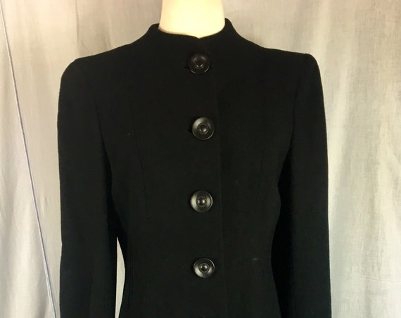 Vintage 1940s Black Wool Collarless Princess Coat by Michael Davis, Tailor of Winnipeg Med Lg
