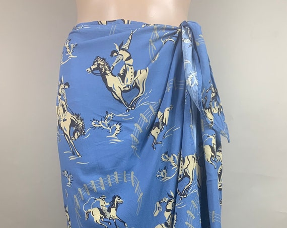 Vintage 1980s Does 1950s Western Sarong by Reyn Spooner XL