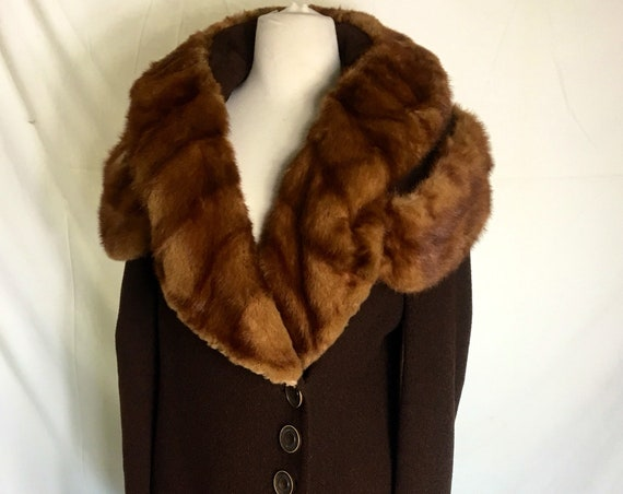 Vintage 1930s Red Mink Trimmed Brown Wool Coat