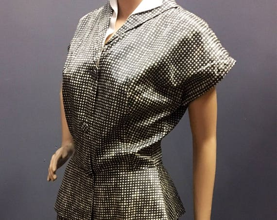 Vintage 1950s New Look Blue Star Pattern Two Piece Satin Acetate Top and Skirt 28W