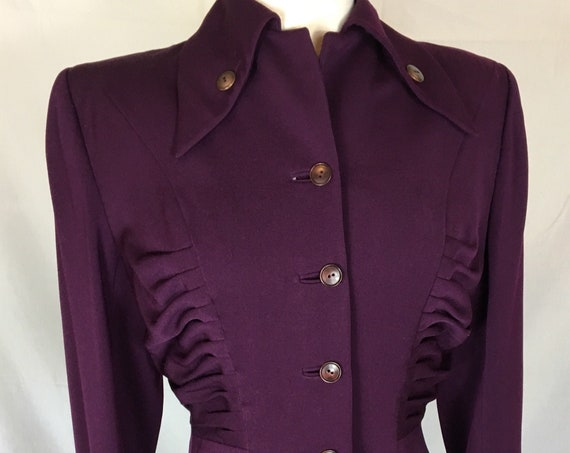 Vintage 1940s Beautiful Mulberry Colored Lilli Ann Gaberdine Jacket
