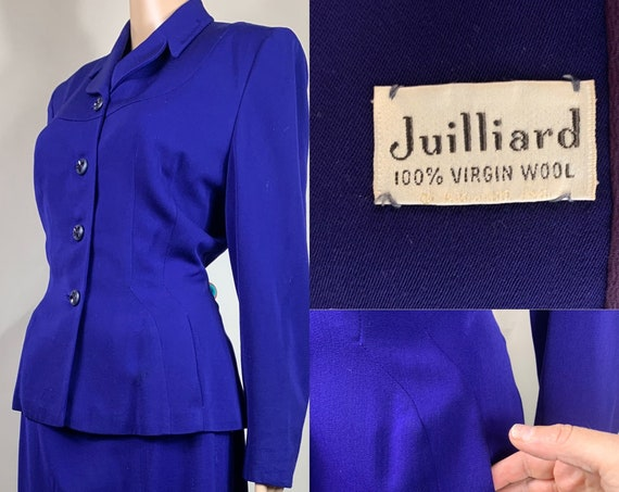 Vintage Late 1940s, Early 1950s Women's Purple Blue Suit Large