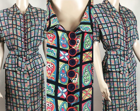 Vintage Late 1930s Early 1940s Multi Color Silk Rayon Dress Medium