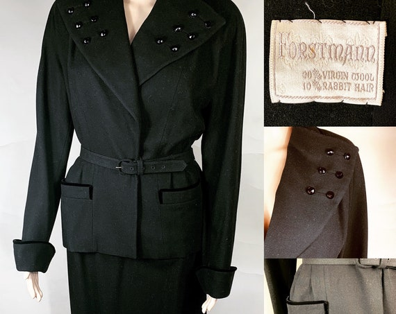 Vintage Black Wool Suit by Forstmann Med Lg