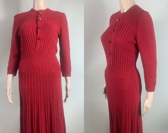 Vintage 1930s Red Ribbed Sweater Dress, Size Small