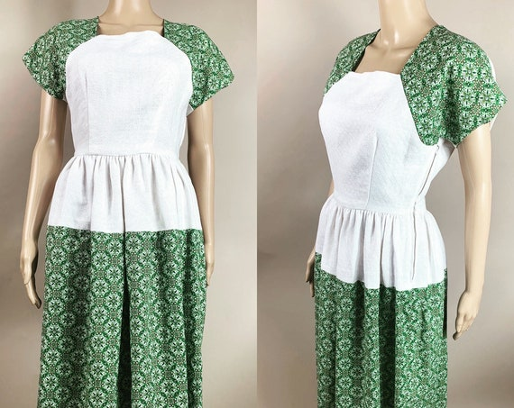 1940s Repro Dress White Green Cotton Small