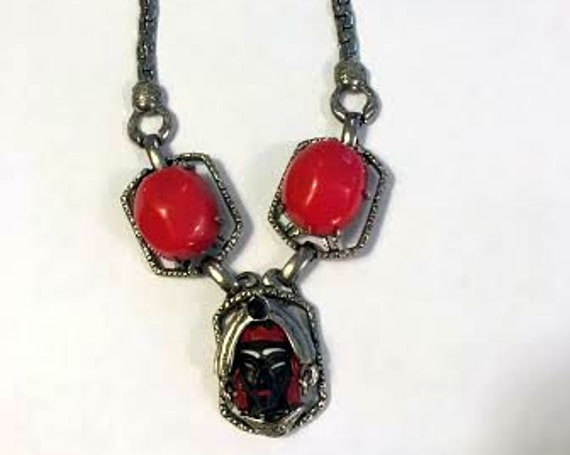 Vintage 1950s Selro African Face Necklace in Excellent Condition