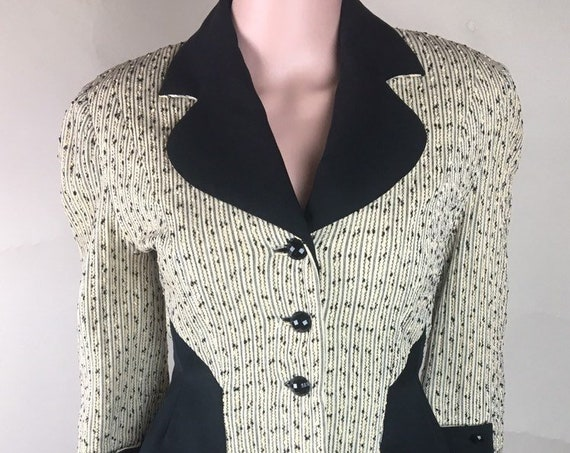Vintage 1940s 3/4 Sleeve Black Yellow Beige Wool Jacket by La Bonna of Utah