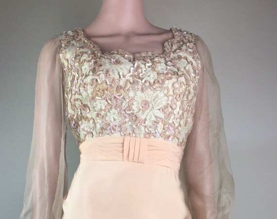 Vintage 1960s Peach Sequin Cocktail Dress by Emma Domb