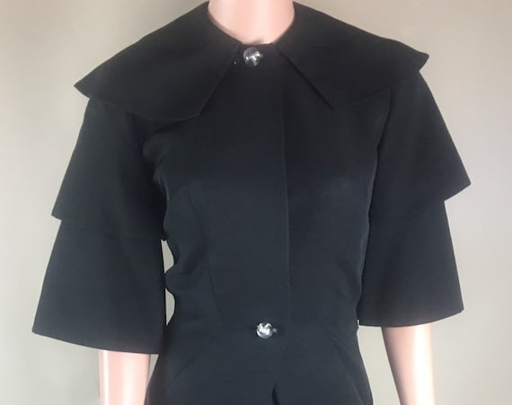 Vintage 1950s Black Faille Suit by Hollywood Designer Irene