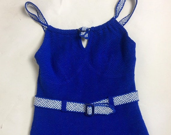 Vintage 1930s Blue Wool One Piece Bathing Suit by Jantzen
