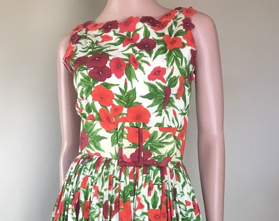 Vintage 1950s Designer Traina Norell Red Poppy Floral Faille Dress
