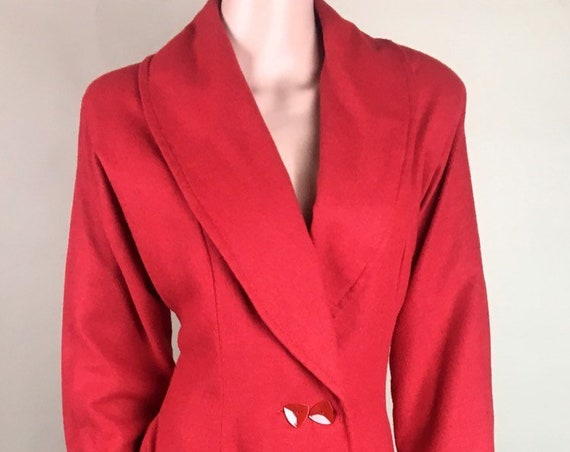 Vintage 1950s Cherry Red Lightweight Wool Princess Coat