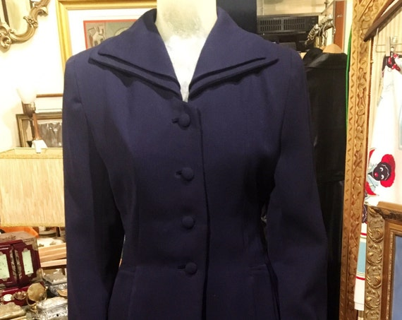 "Vintage 1940s Navy Blue Gaberdine Suit By Aldenaire Small 26"" Waist"